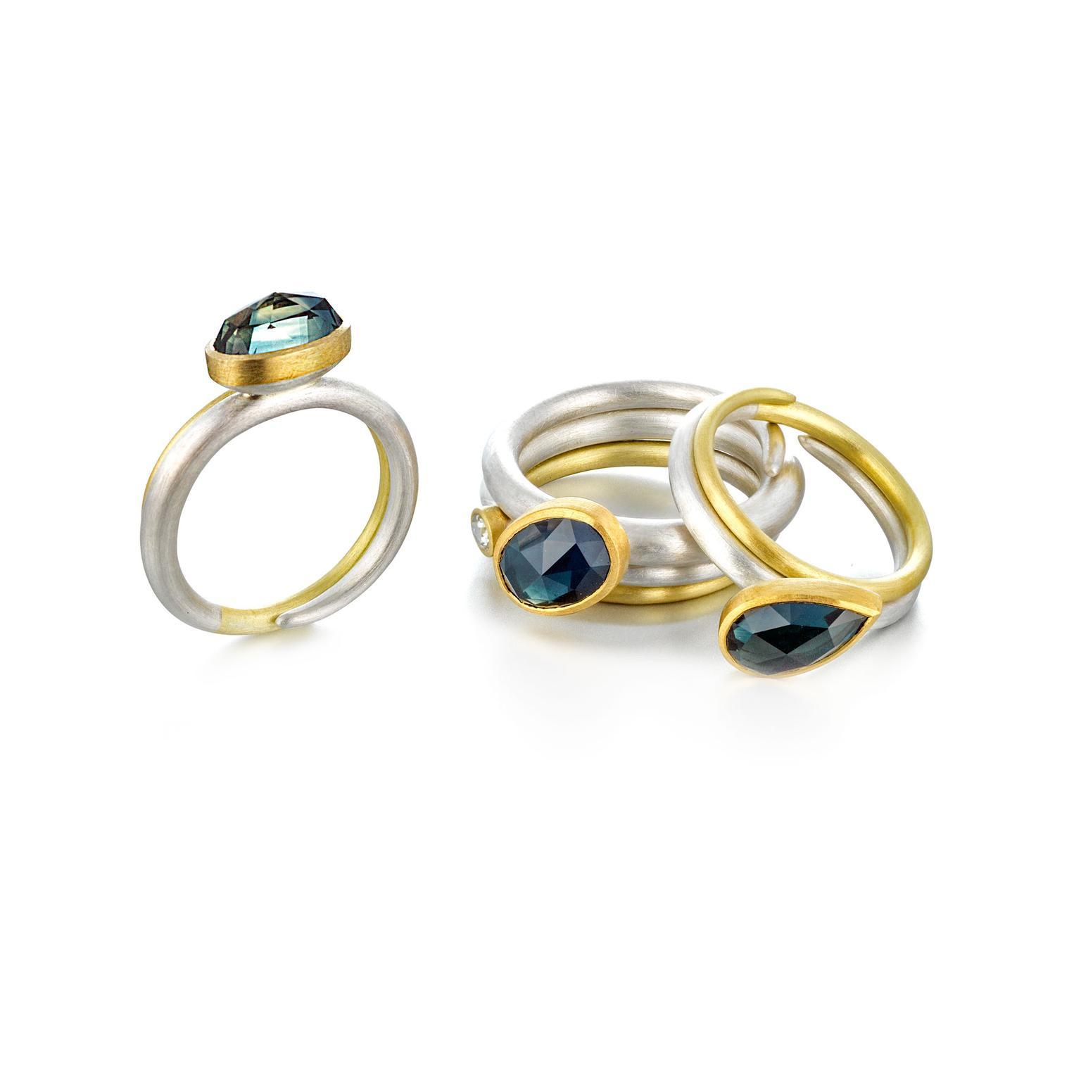 Mark Nuell silver and gold Spiral rings