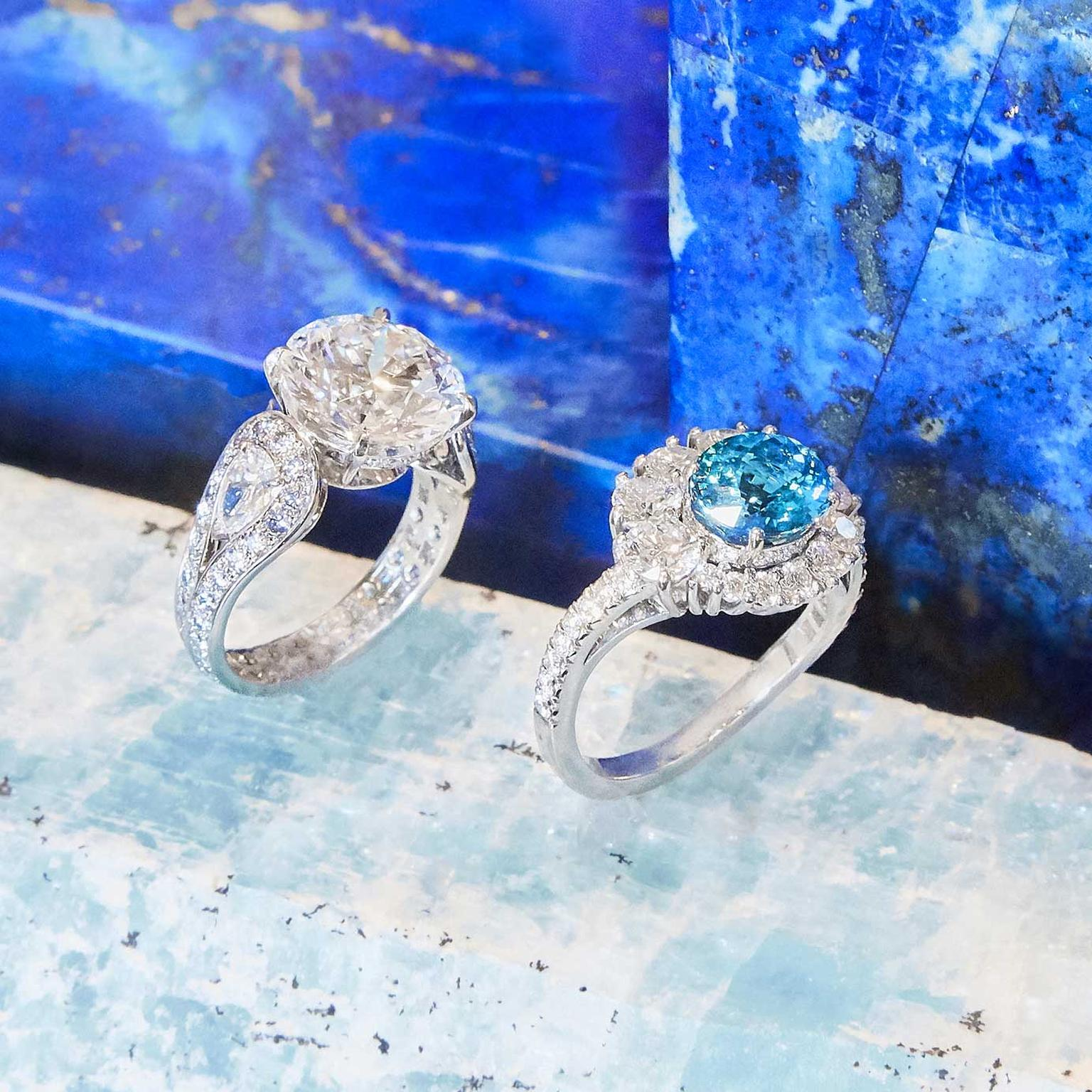 Hirsh Paraiba Swirl and Majestic diamond rings