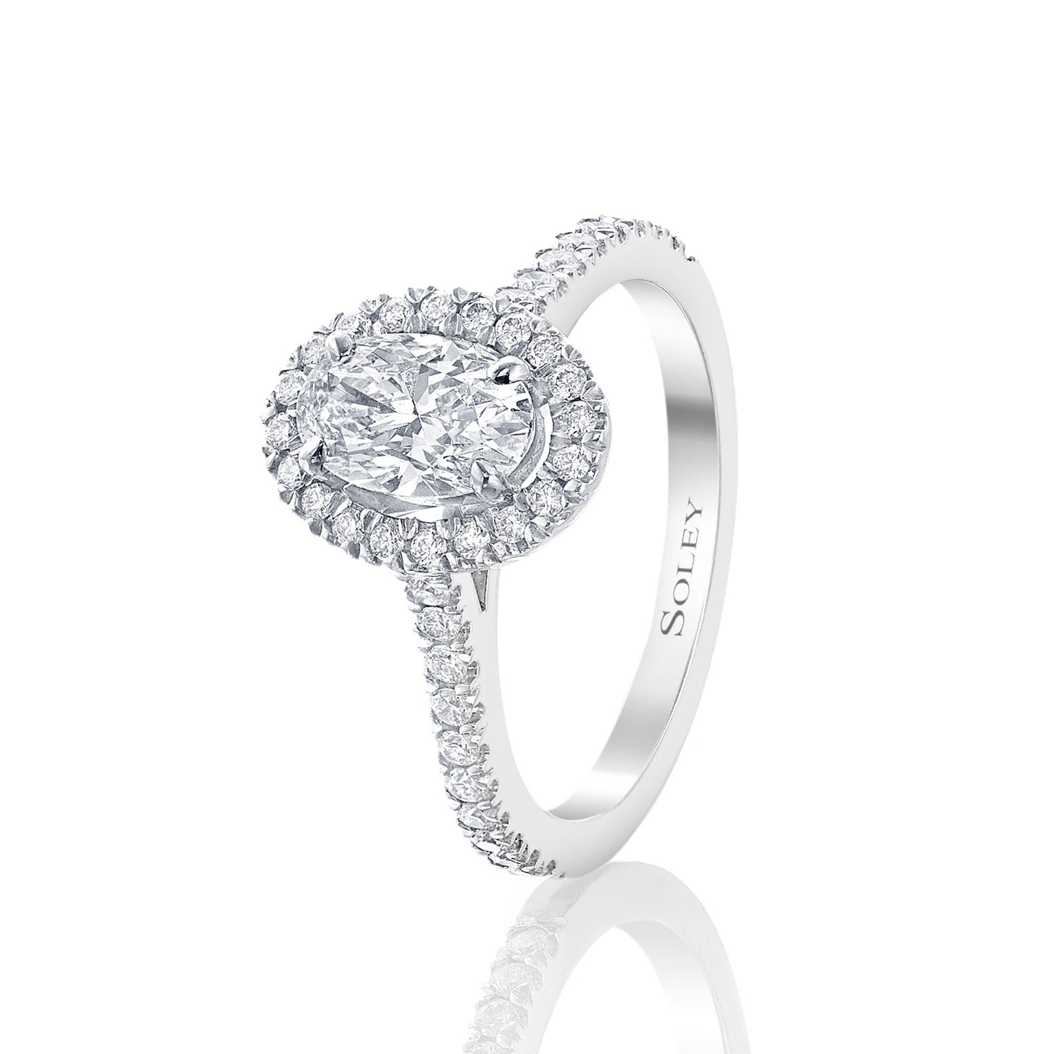 Soley London oval cut diamond engagement ring
