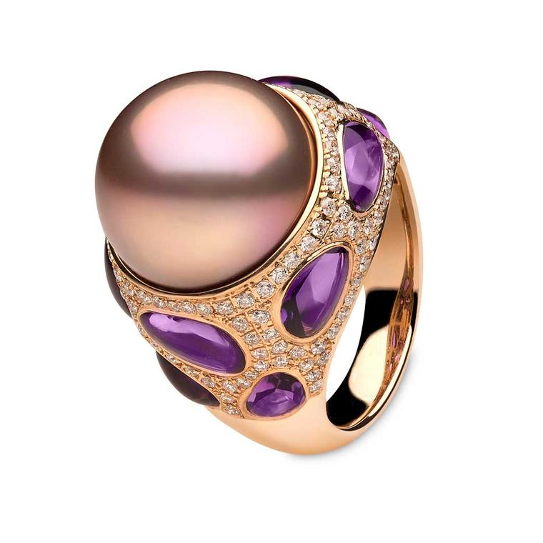 YOKO London Calypso ring with pink freshwater pearl, amethysts and diamonds