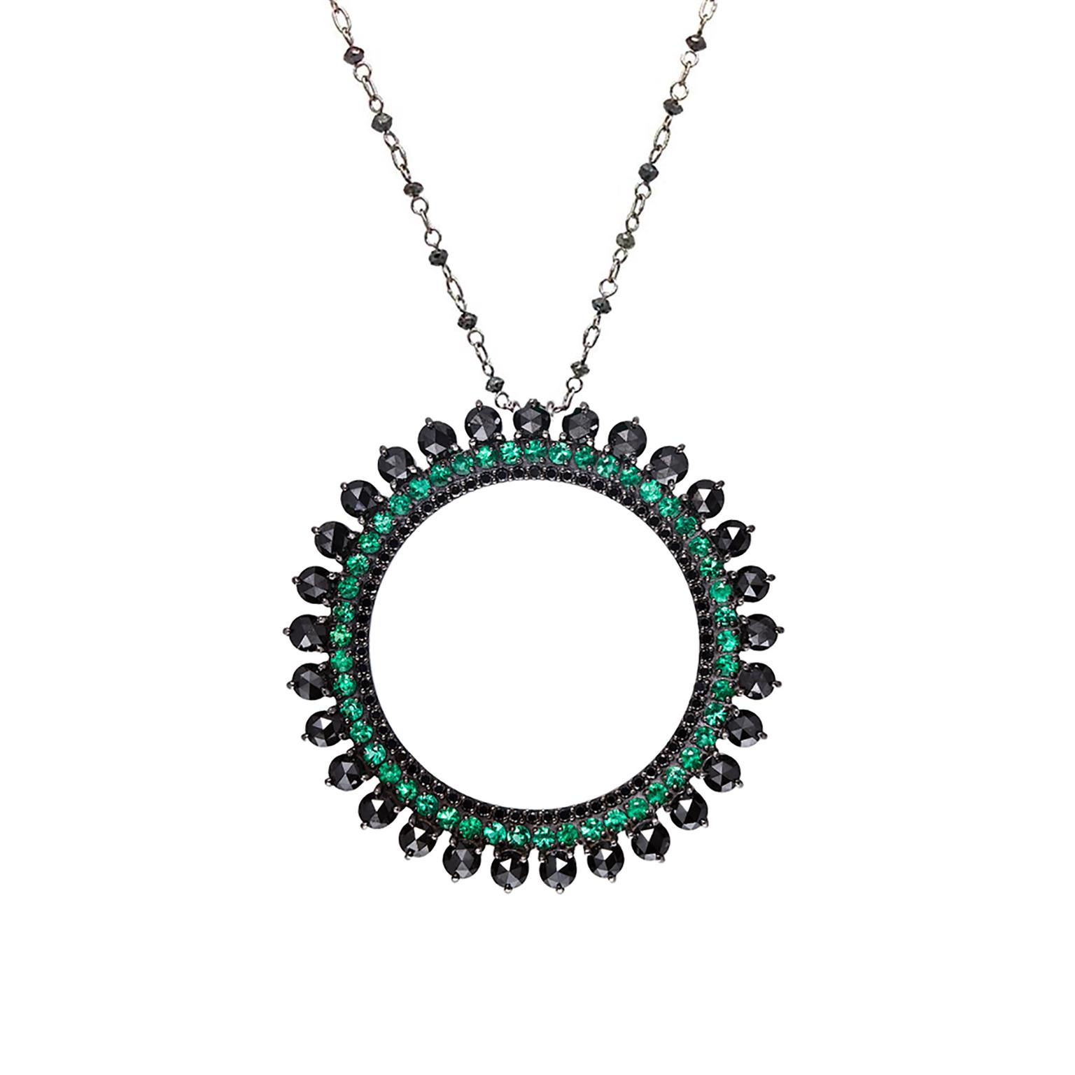 Carla Amorim Vitoria Regia emerald and diamond pendant