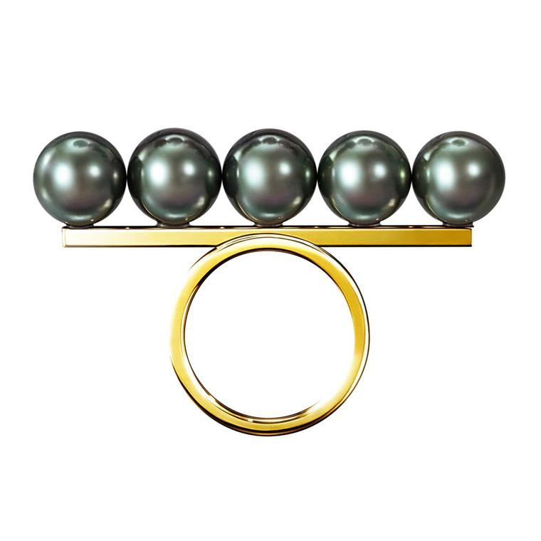 Tasaki Collection Line Balance Ring South Sea Pearl Black