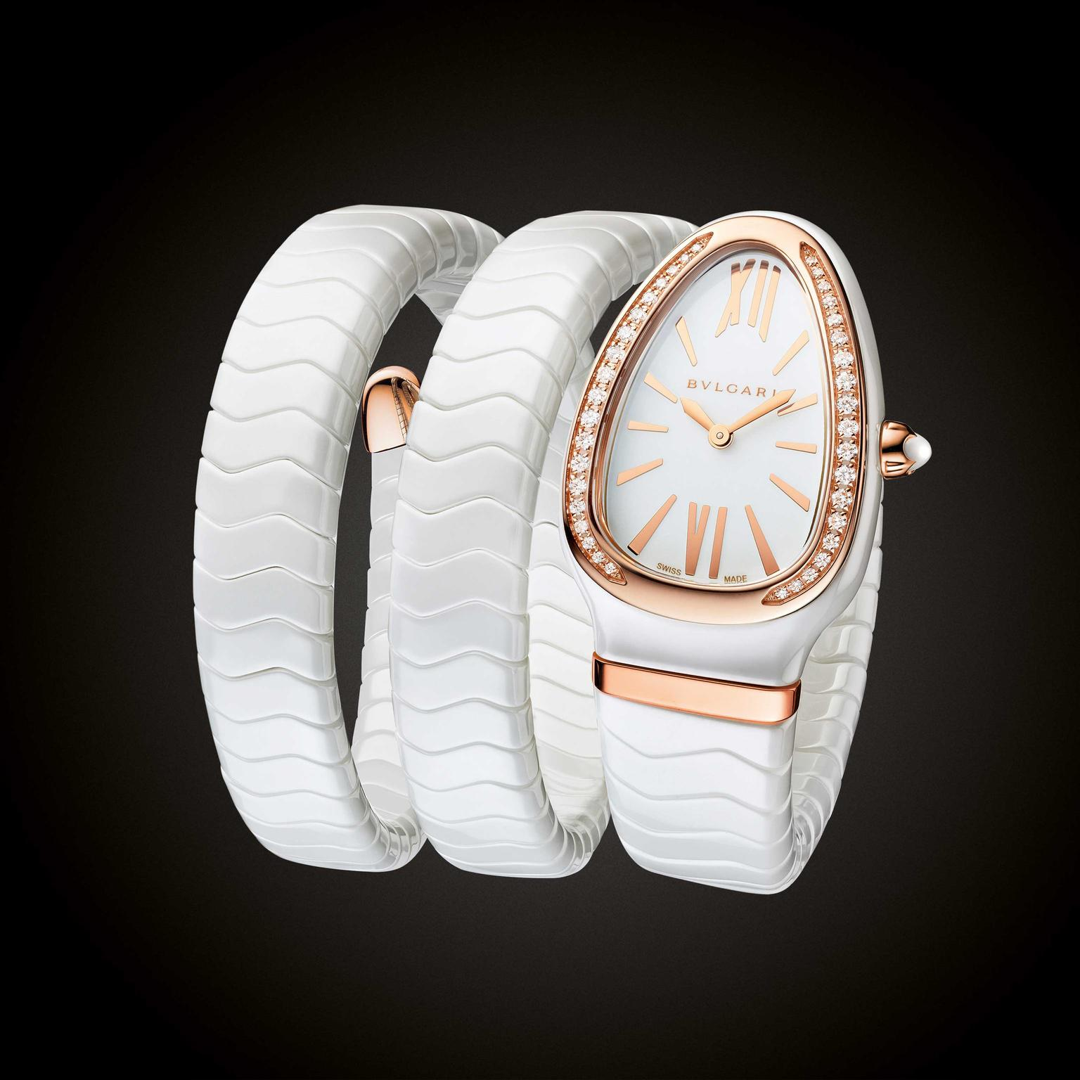 Bulgari's Serpenti Spiga Ceramica double coil white ceramic ladies watch