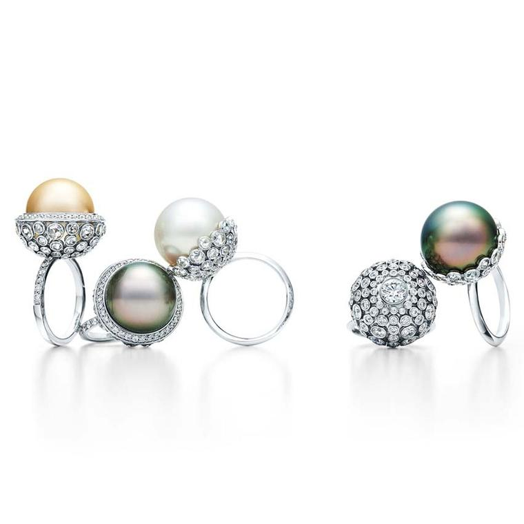Tiffany pearl rings from the 2015 Blue Book collection, set with cultured white South Sea and Tahitian pearls with rose-cut and round diamonds in platinum.