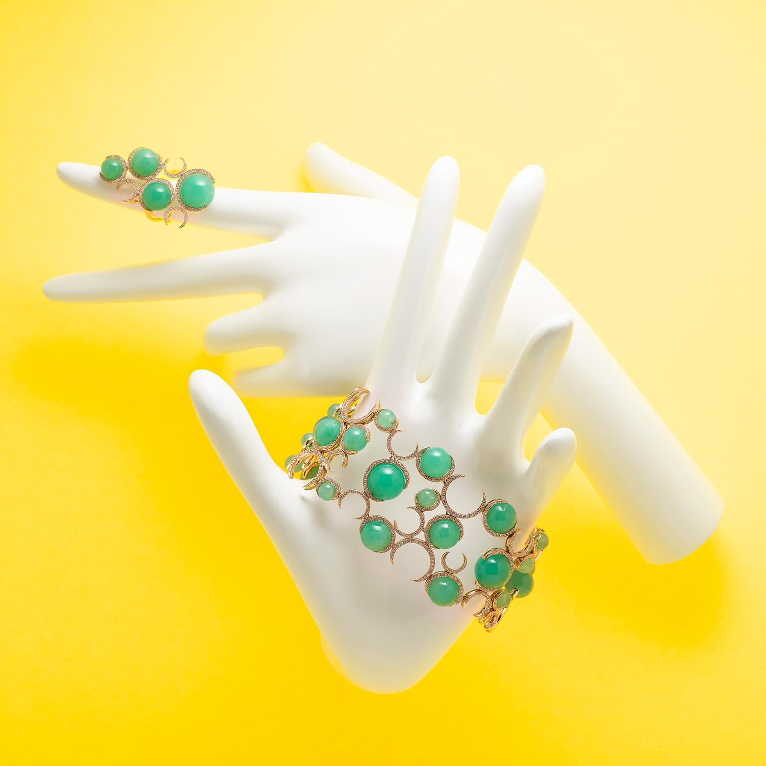 Christina Debs Candy Pop chrysoprase bracelet and ring
