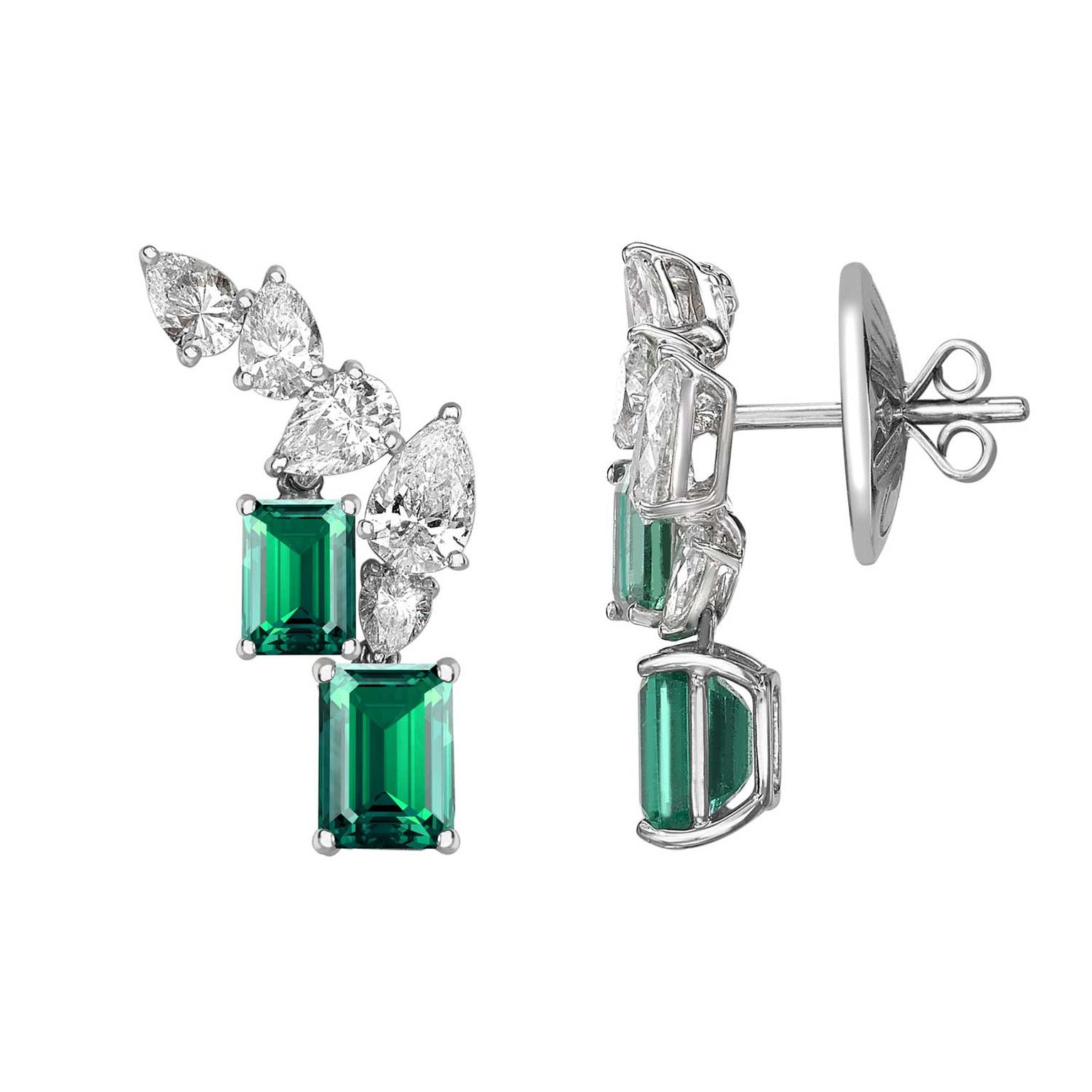 William & Son MYA emerald and diamond earrings
