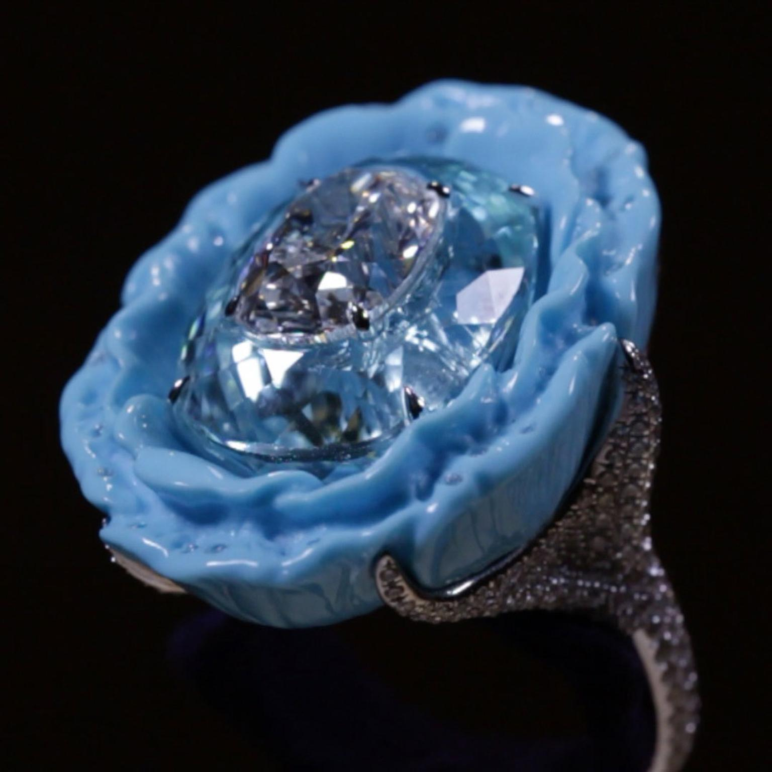 Boghossian Paraiba and diamond ring