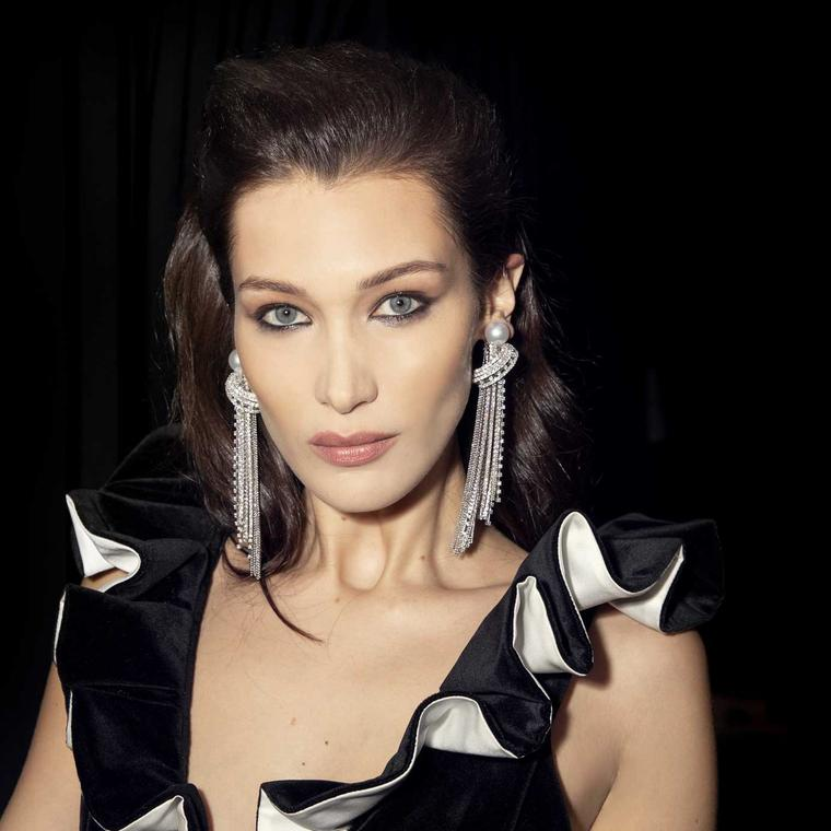 Bella Hadid in Tasaki pearl earrings