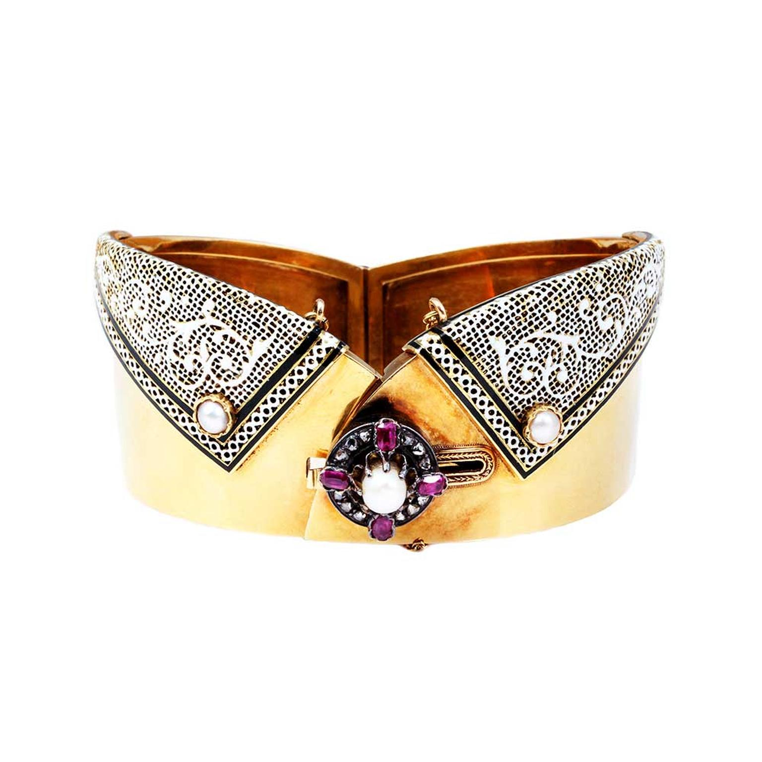 Bell and Bird French manchette bracelet with rubies, pearls and diamonds