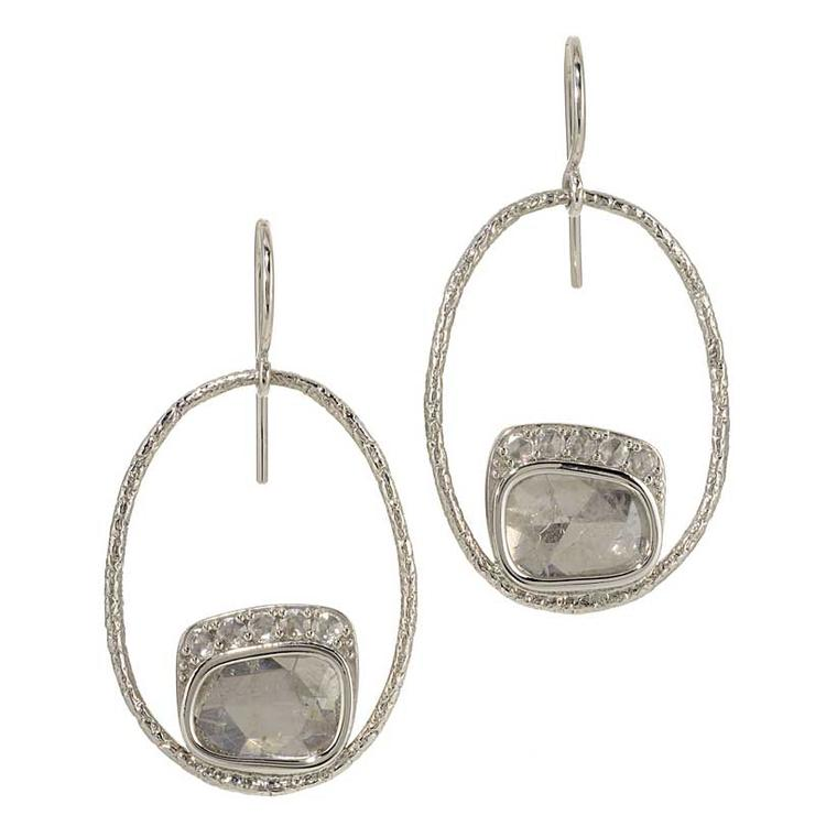 Susan Wheeler white diamond earrings