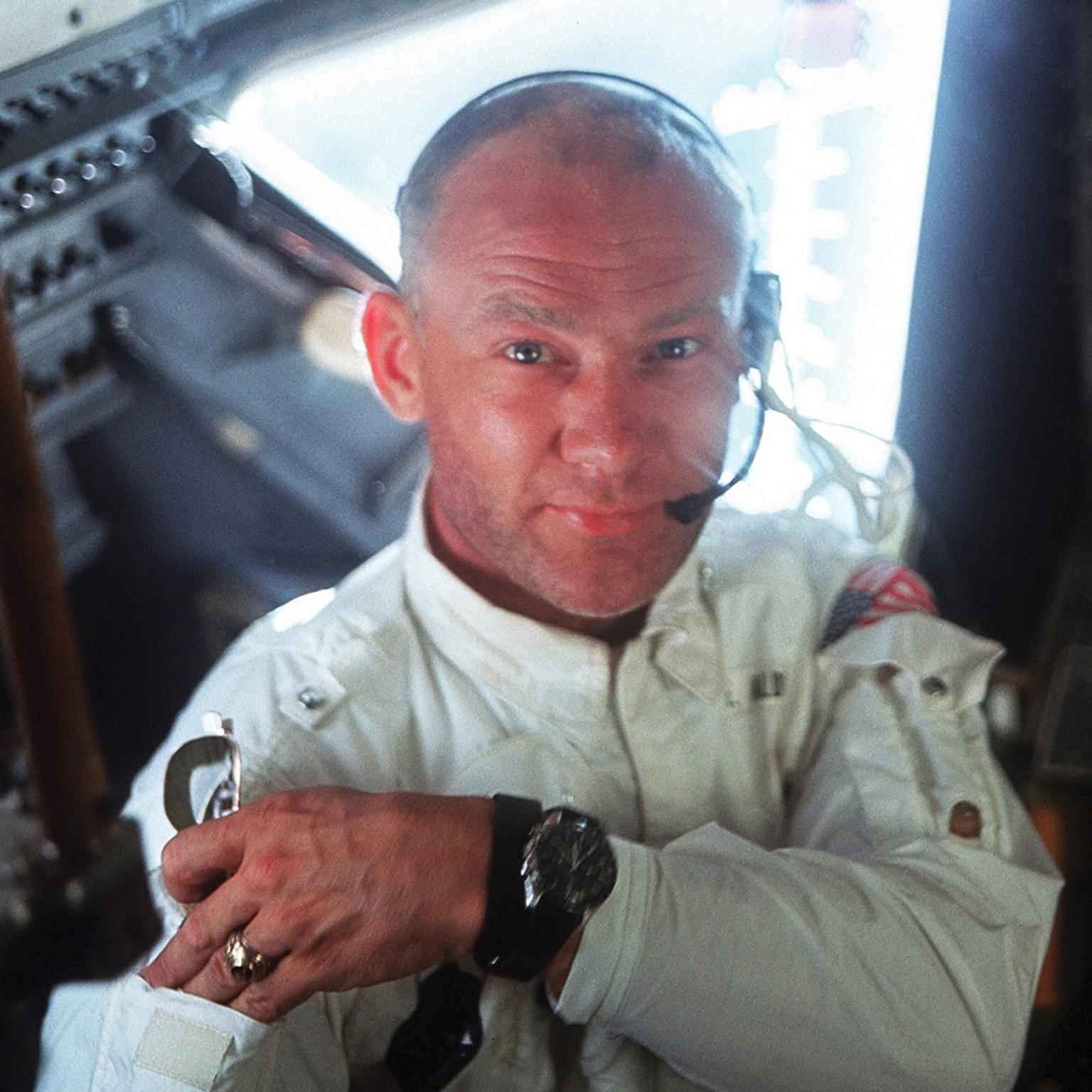 Buzz Aldrin pictured in July 1969 wearing his Omega Speedmaster watch