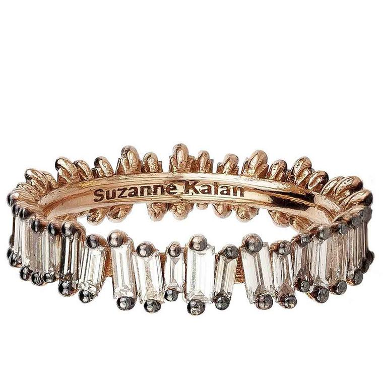 Suzanne Kalan Fireworks rose gold ring with baguette champagne diamonds