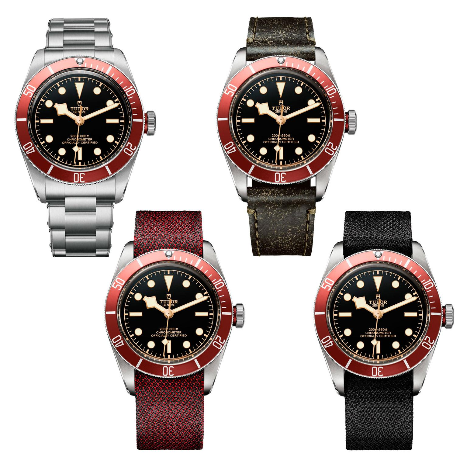 Tudor Heritage watches with metal bracelet and leather strap