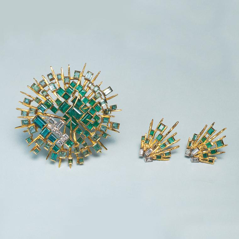 John Donald emerald and diamond brooch and earrings