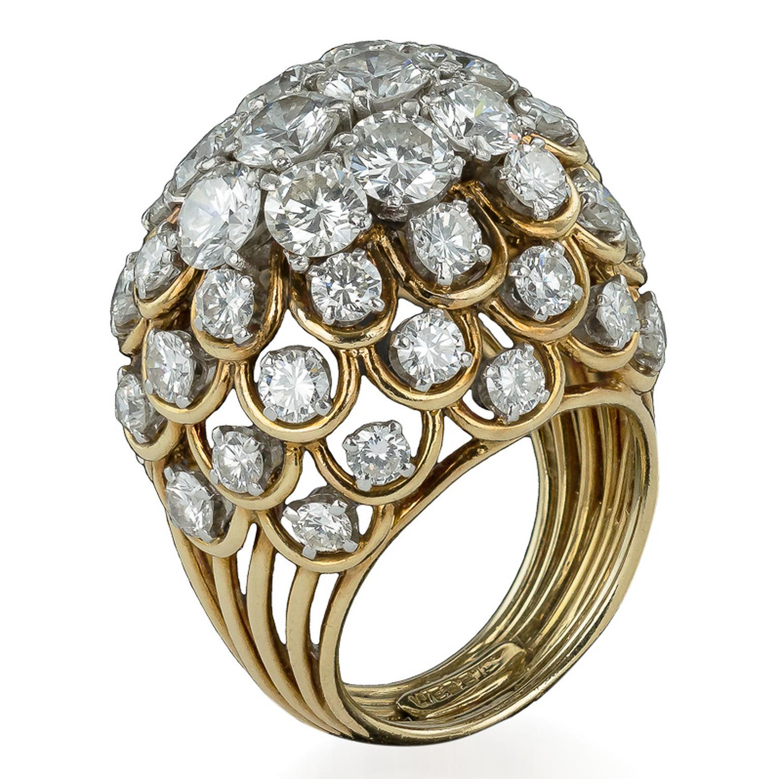 David Webb gold and diamond Bombe ring