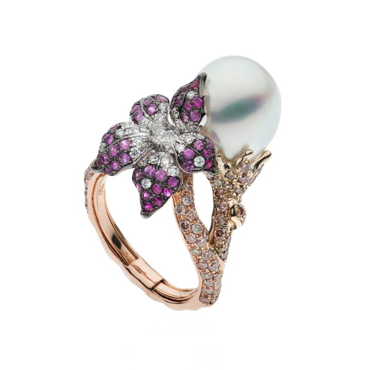 Autore Orchid Curly Pinks white pink pearl ring