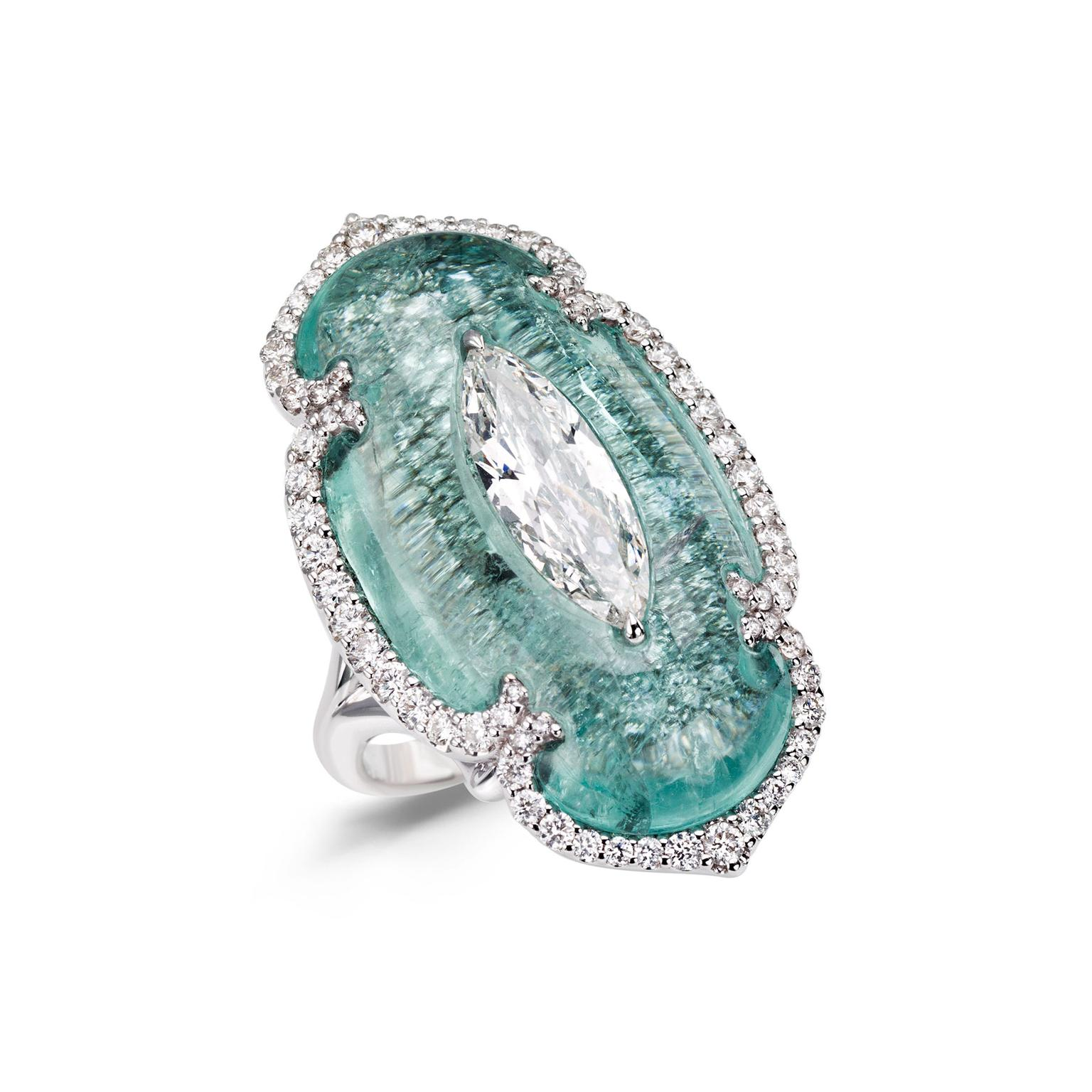 Boghossian Art of Inlay diamond and Paraiba ring
