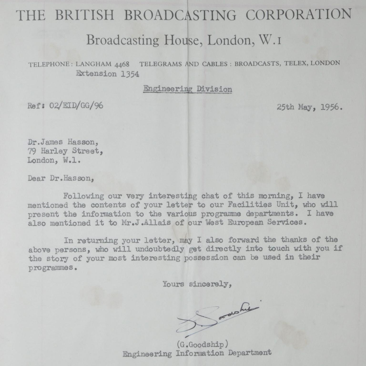Letter from BBC regarding the Joan of Arc antique ring