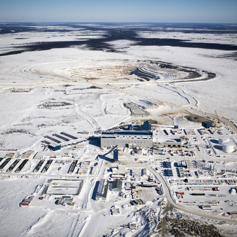 Aerial view of De Beers Victor mine in Ontario, Canada