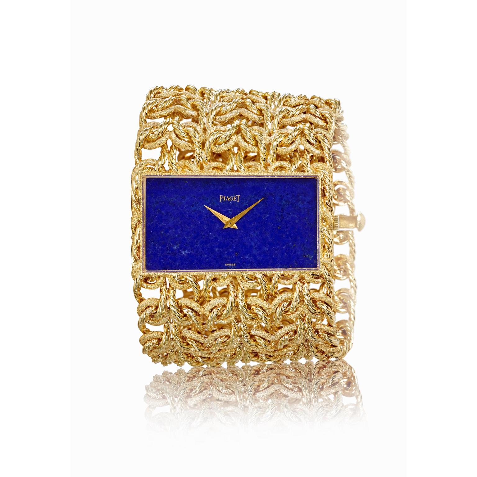 Piaget vintage cuff watch in yellow gold with a lapis lazuli dial