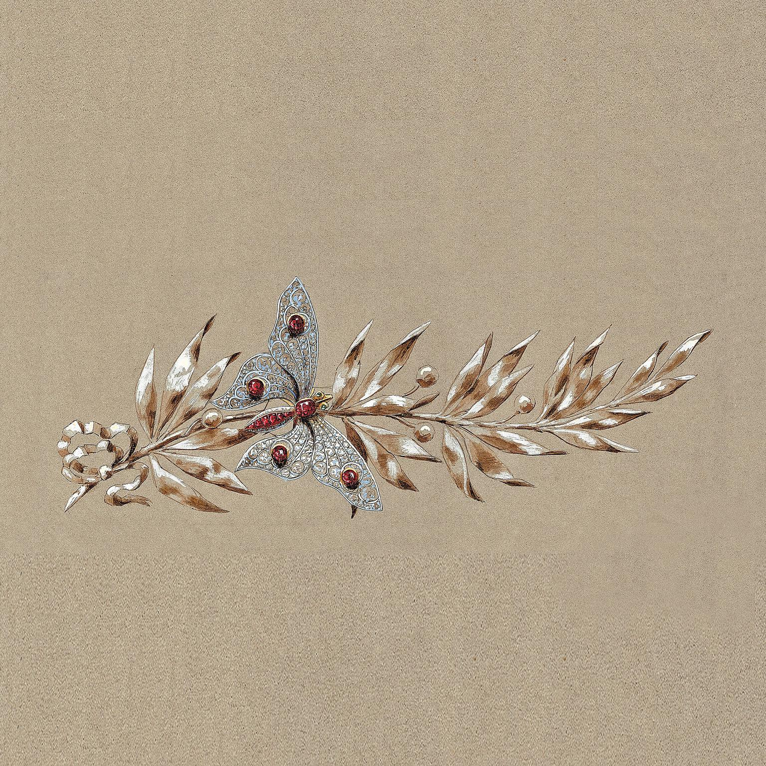 Preparatory sketch of a Chaumet brooch