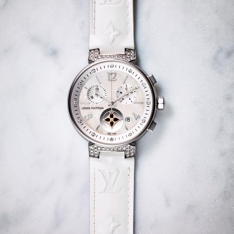 Louis Vuitton Tambour Moon Star Chronograph white with mother of pearl and diamonds