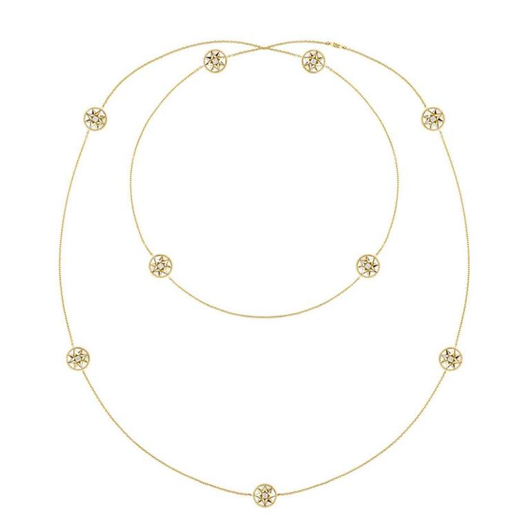Dior Rose des Vents sautoir necklace in yellow gold, with mother-of-pearl medallions and diamonds (£6,300).
