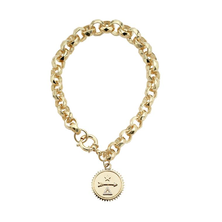 Foundrae faceted 18 carat gold bracelet with single medallion