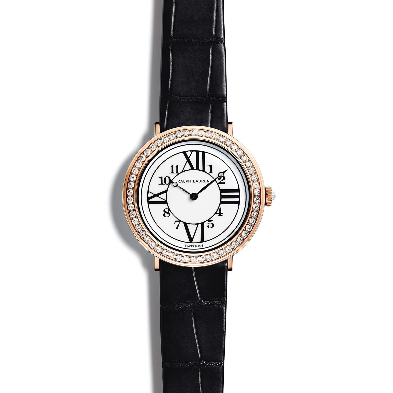 Ralph Lauren RL888 32mm in rose gold with diamonds