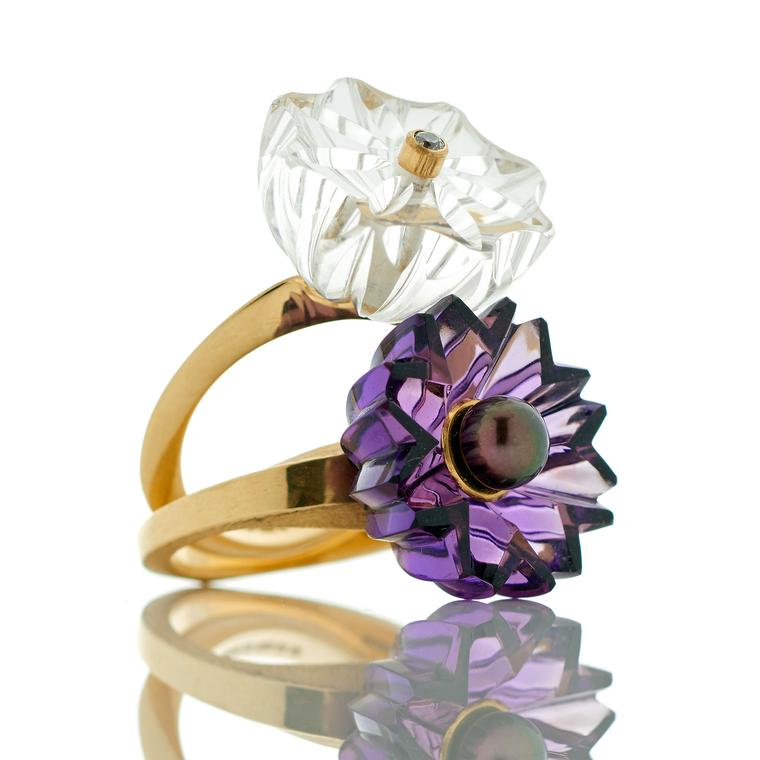 Flora Bhattachary Jyamiti rings with hand-carved rock crystal and amethyst