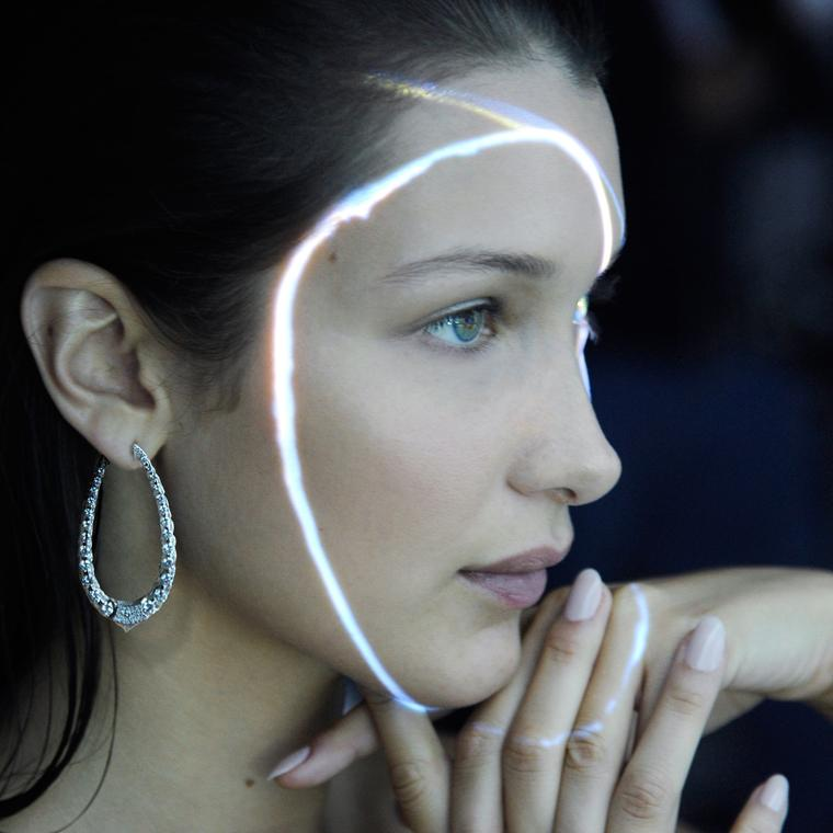 Bella Hadid wearing Boghossian Les Merveilles Creole diamond hoop earrings