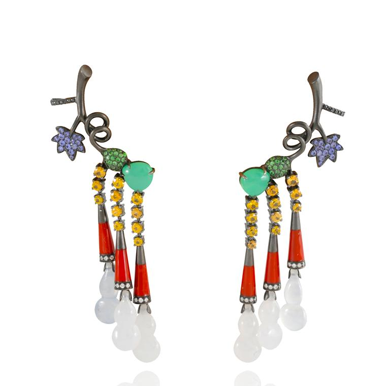 Lydia Courteille Automne a Pekin flower earrings