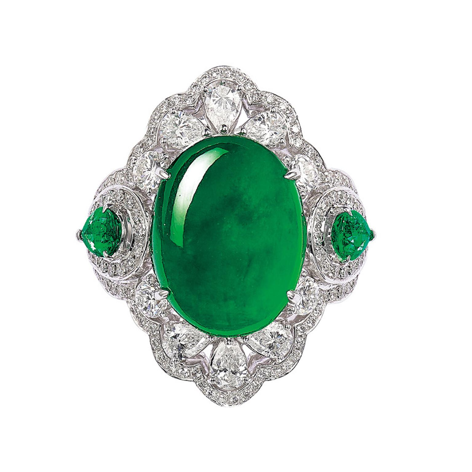Lot 581 Jadeite Emerald and diamond ring for Phillips
