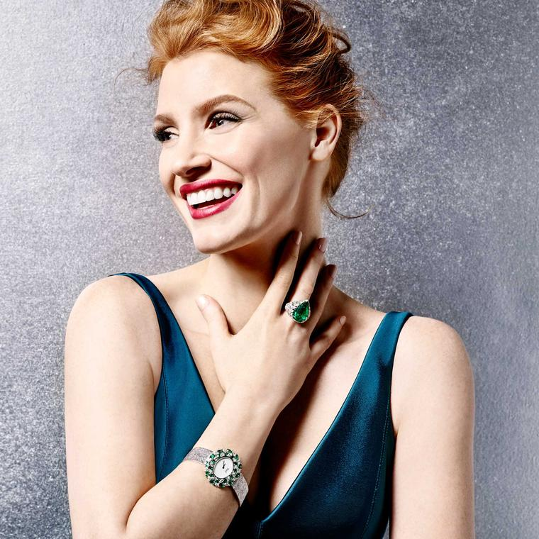 Jessica Chastain in Piaget's Sunny Side of Life collection