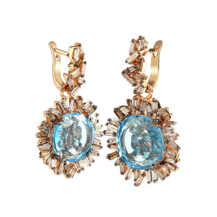 Suzanne Kalan blue topaz and diamond earrings