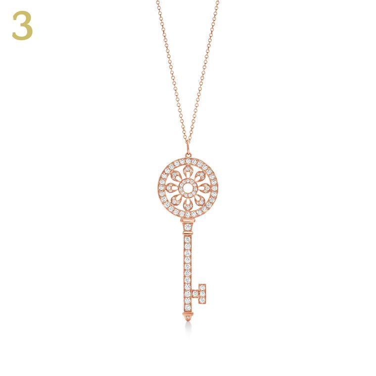 Tiffany rose gold and diamond Petals Key pendant
