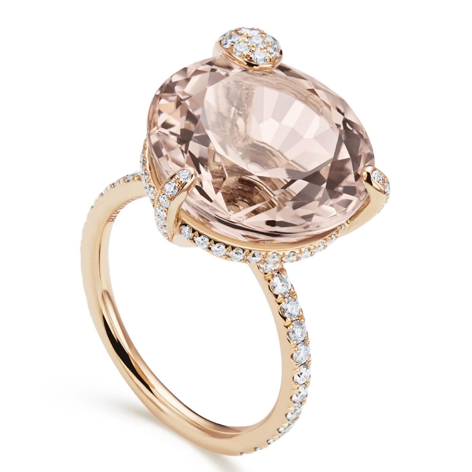 Peekaboo engagement ring from Bucherer with morganite and diamonds