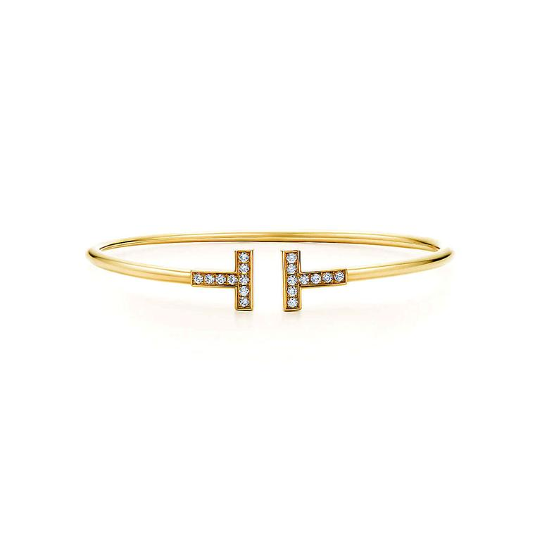 Tiffany T wire bracelet in yellow gold and diamonds