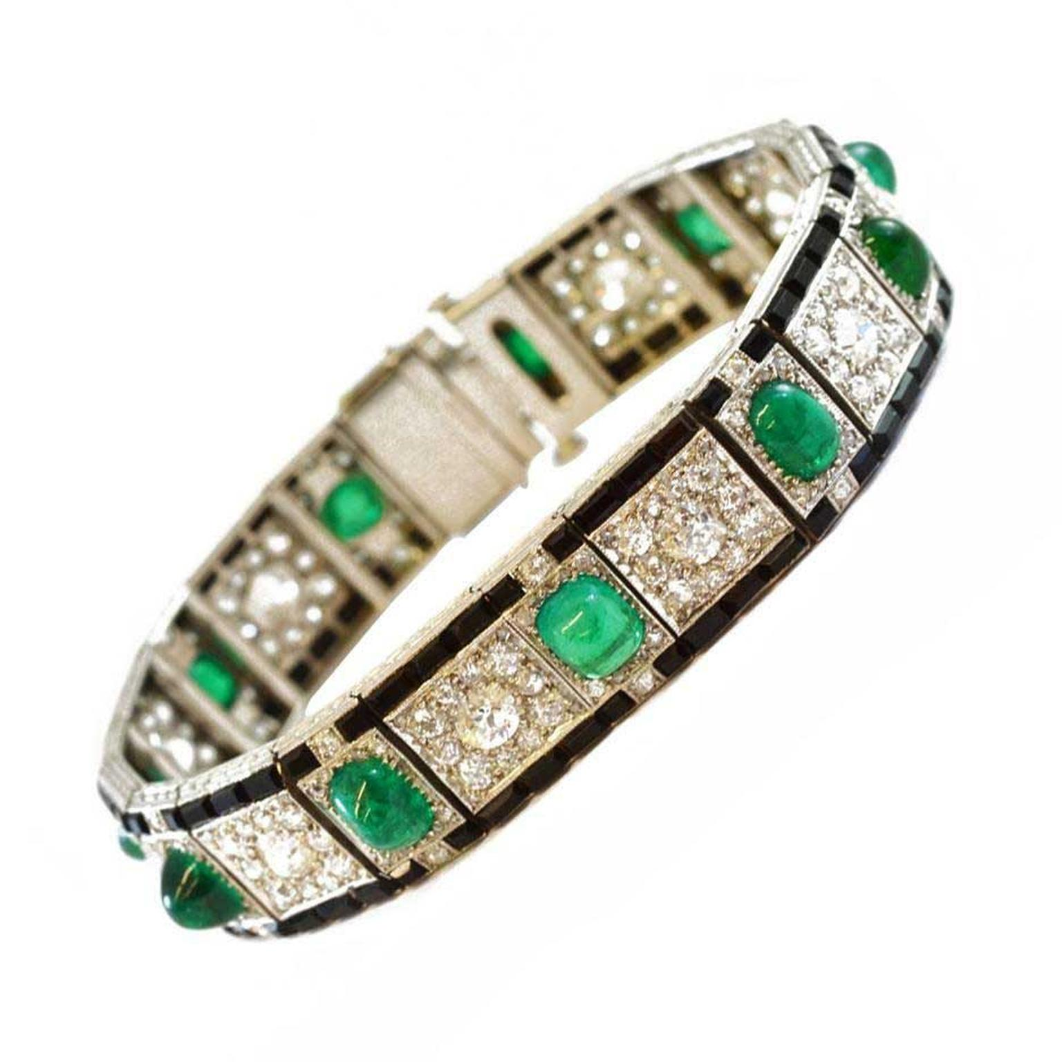 Sandra Cronan Art Deco bracelet with emeralds diamonds and onyx