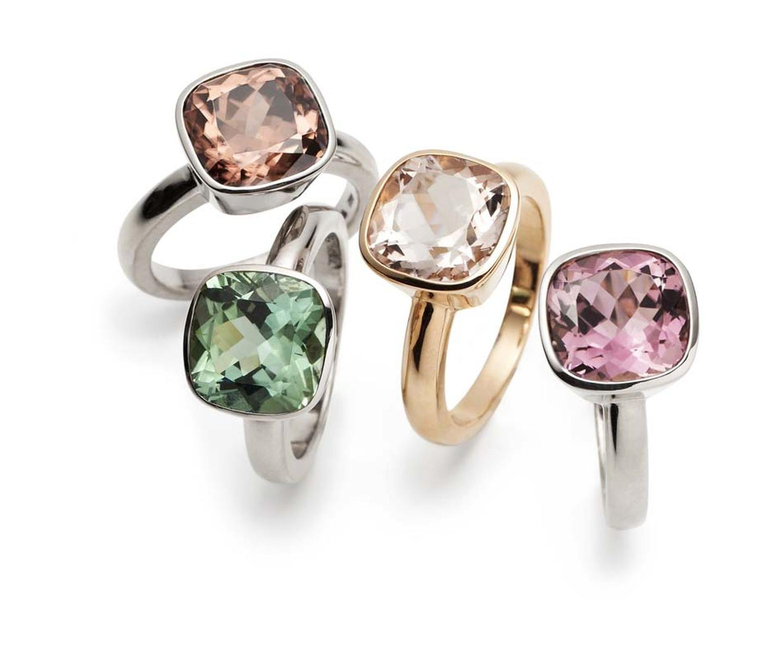 CADA Roma rings in white gold with zircon, white gold with green tourmaline, rose gold with morganite and white gold with pink tourmaline.