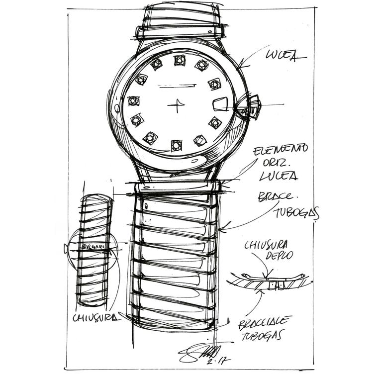 Sketch of Bulgari Lvcea Tubogas new women's watch 2018