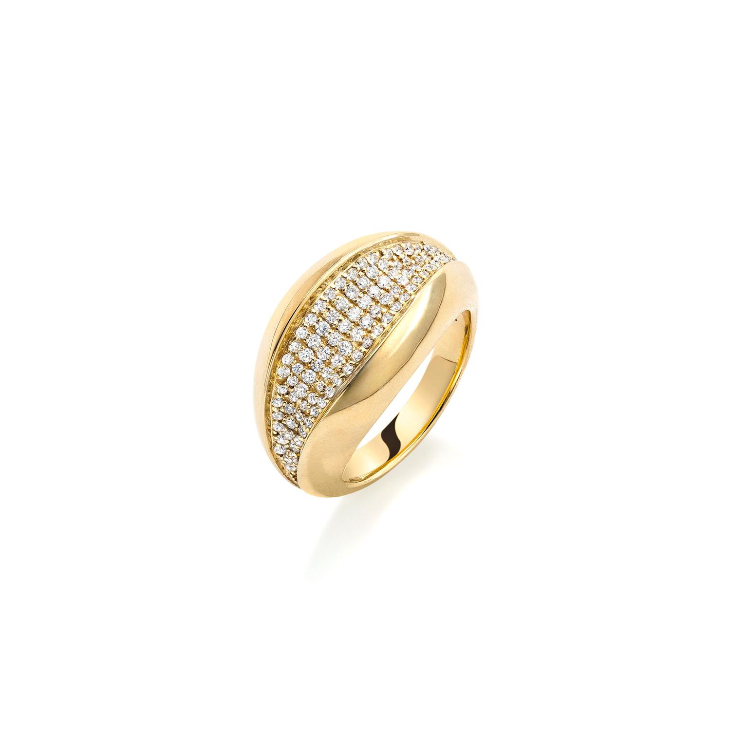 Mappin & Webb Wildfell yellow gold pavé ring