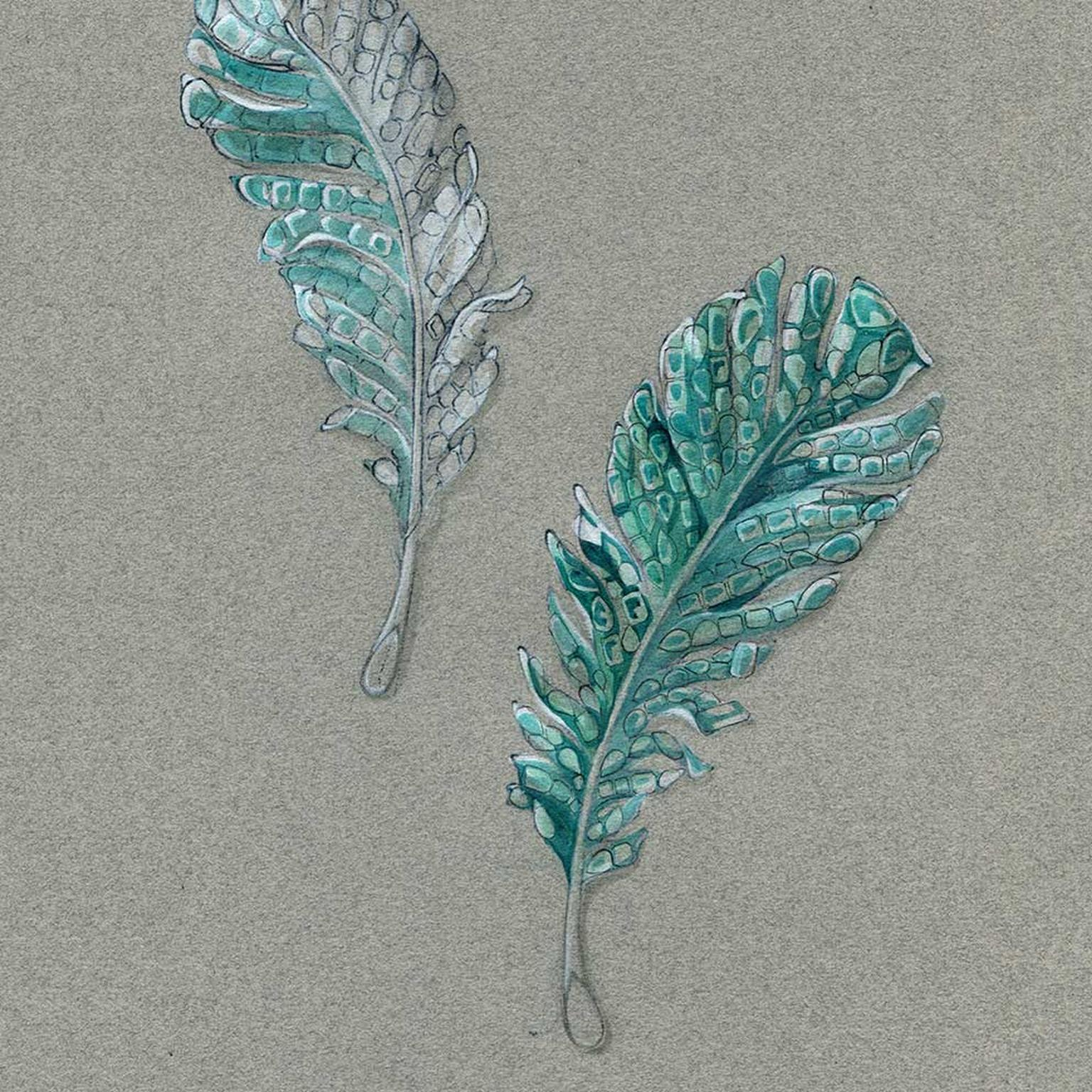 Cindy Chao Black Label Masterpiece emerald feather brooches  early sketch