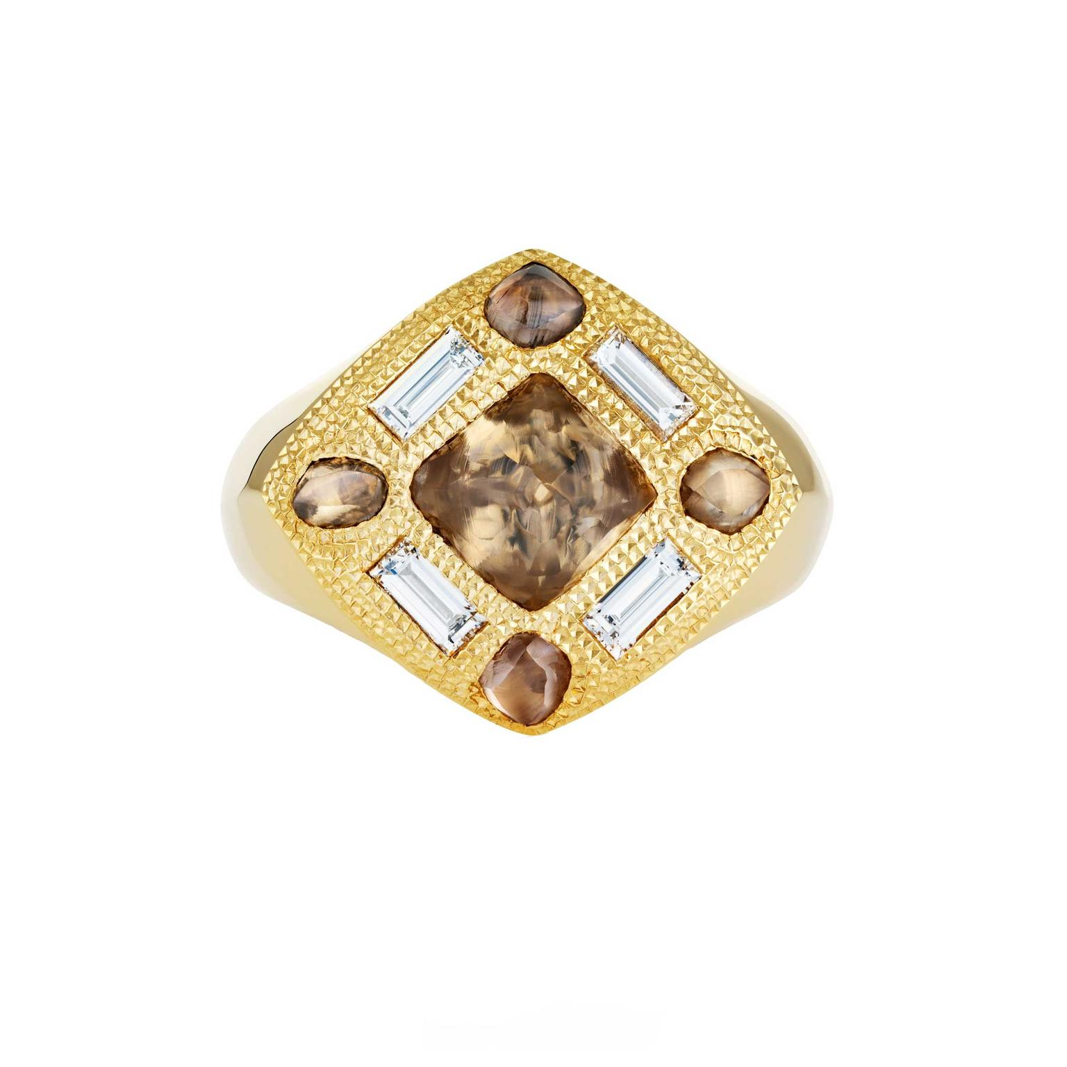 De Beers Talisman gold signet ring with rough diamonds