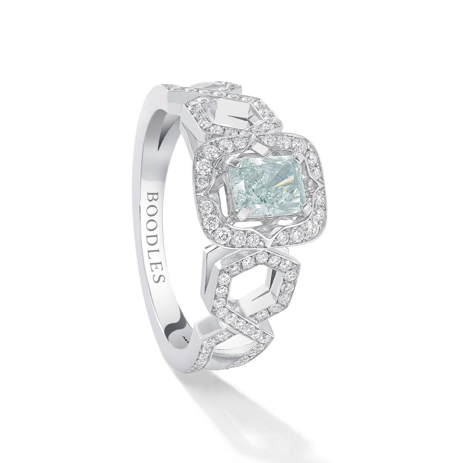 Boodles Finely Coloured Mosaic blue diamond ring