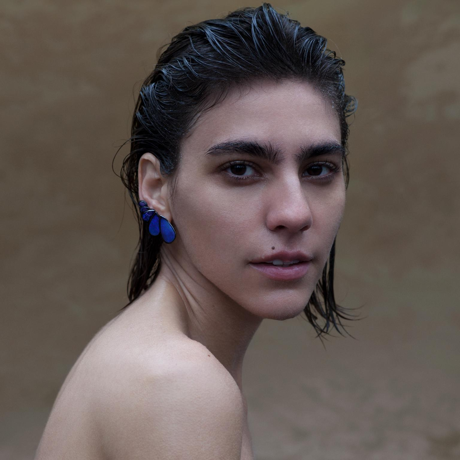 Fernando Jorge opal and diamond earrings on model
