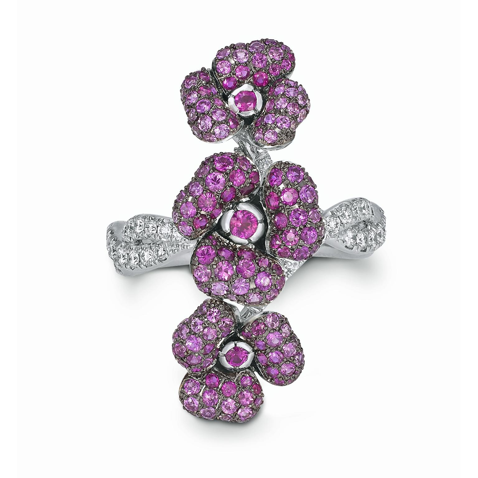 VANLELES Enchanted Garden ruby, pink sapphire and diamond ring