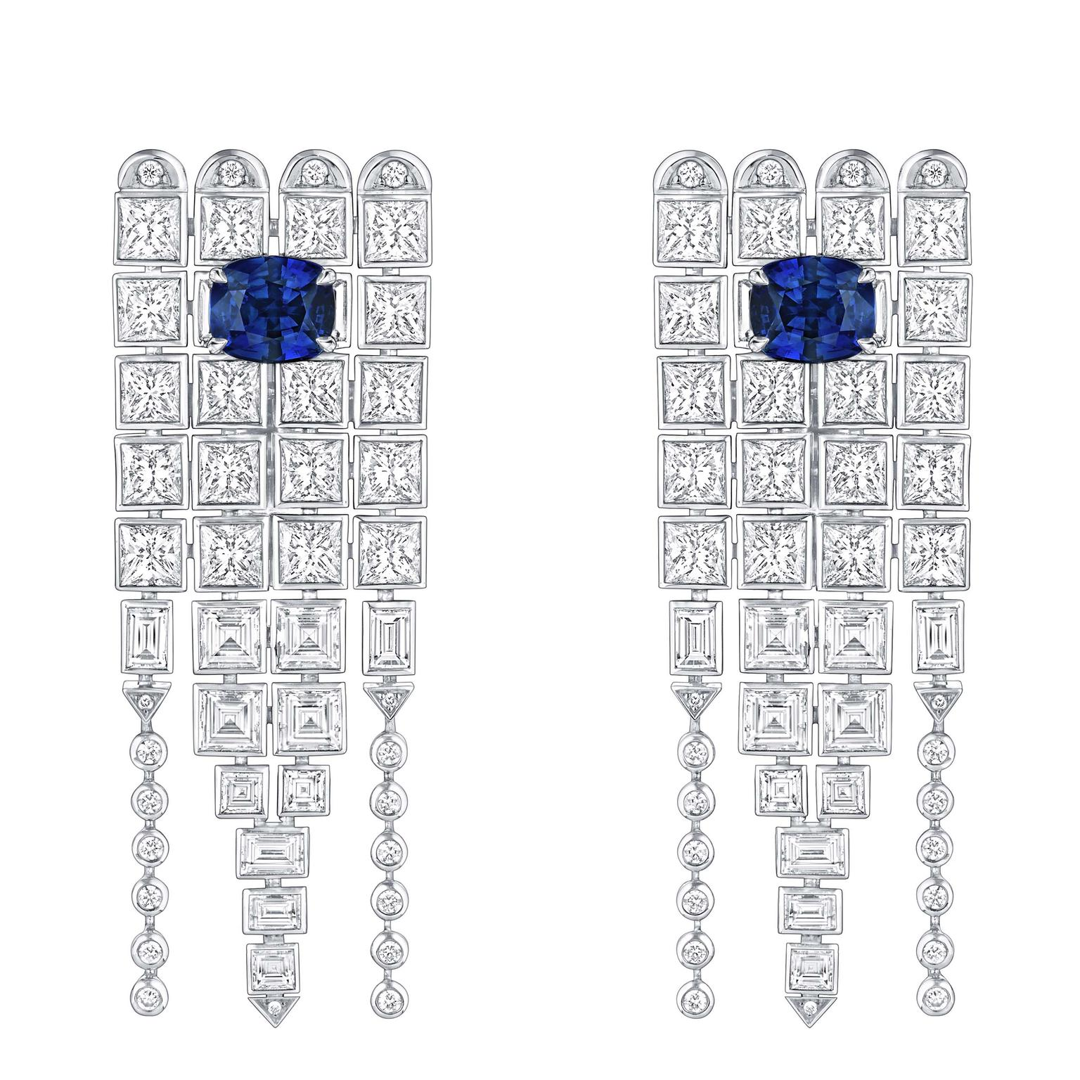 Louis Vuitton Riders of the Knights Le Royaume diamond and sapphire earrings