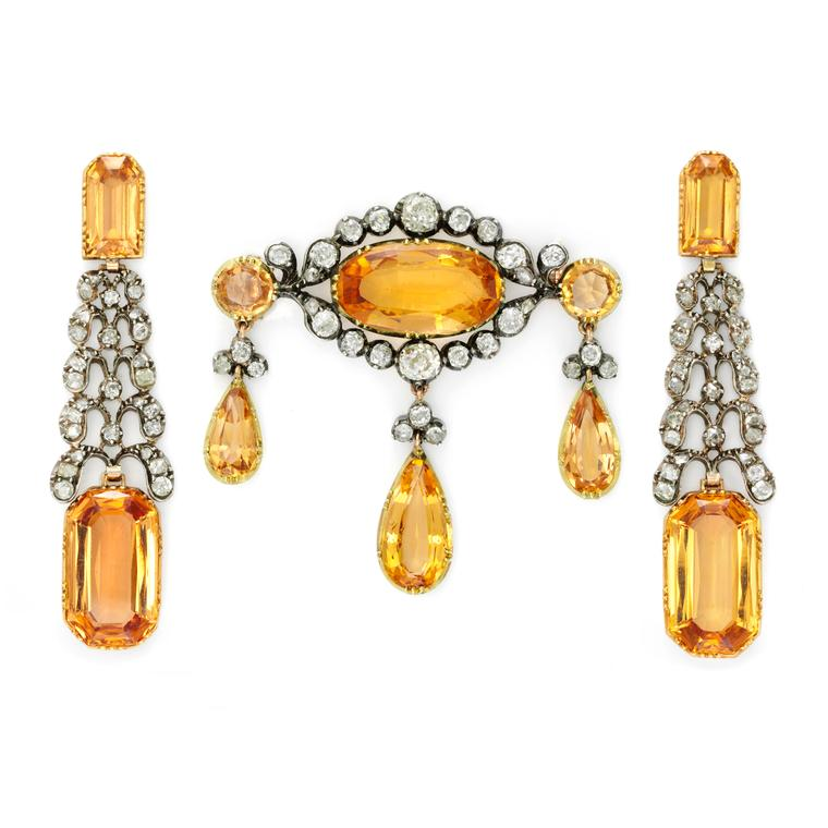 Simon Teakle Georgian topaz demi-parure
