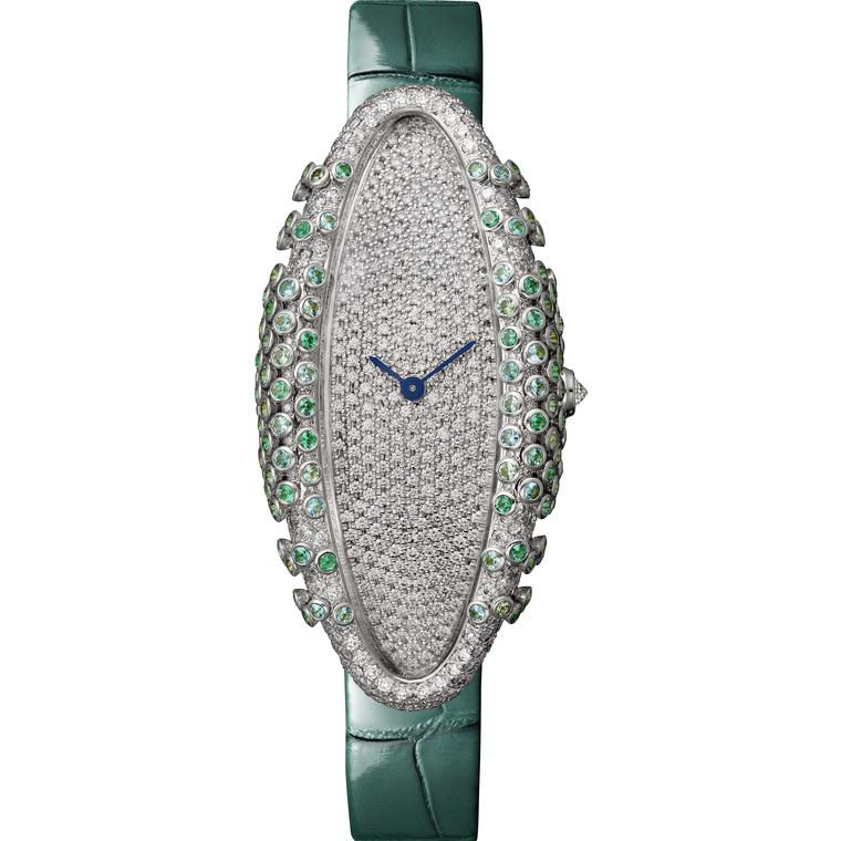 Cartier Libre Baignoire Allongée Céladon watch with Paraiba tourmalines emeralds and diamonds 2019